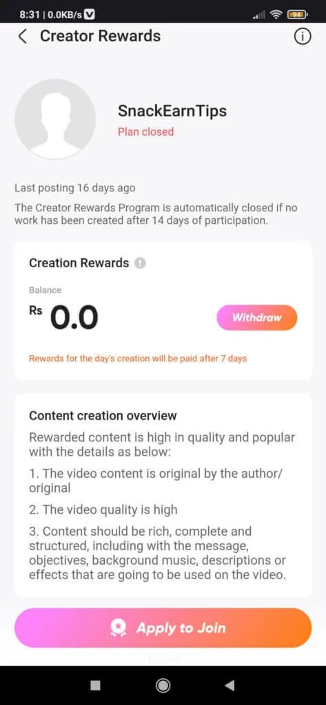 Earn money from SnackVideo by Creator Rewards