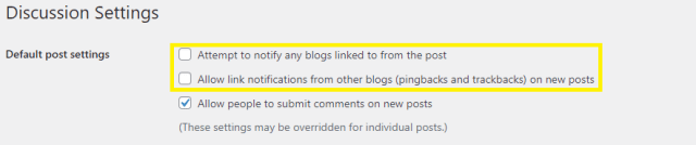 """Disallow the two first options into """"Default post settings"""""""