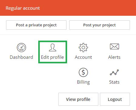 """Open """"profile creation website"""""""