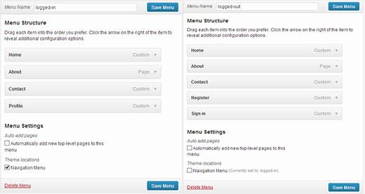 change menus user login status
