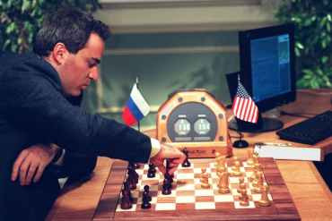 Kasparov at a chessboard with no person opposite