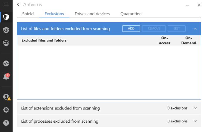 exclude option