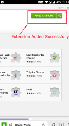 Chrome Extension installation on Android Successful