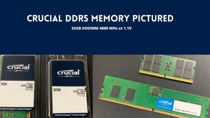 Crucial DDR5 memory pictured