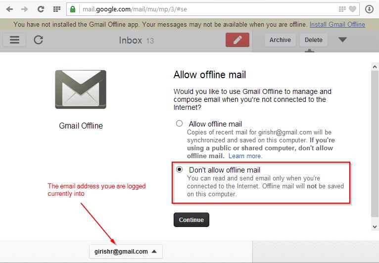 Gmail offline - Allow Offline mail