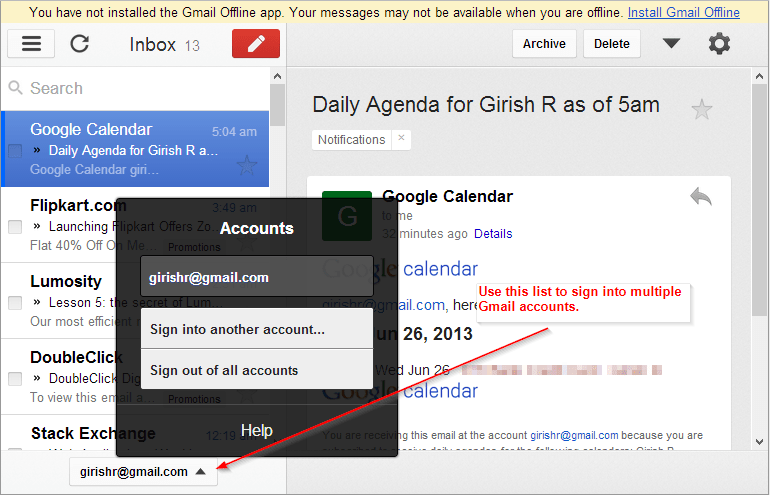 Gmail offline - Sign into multiple Gmail accounts