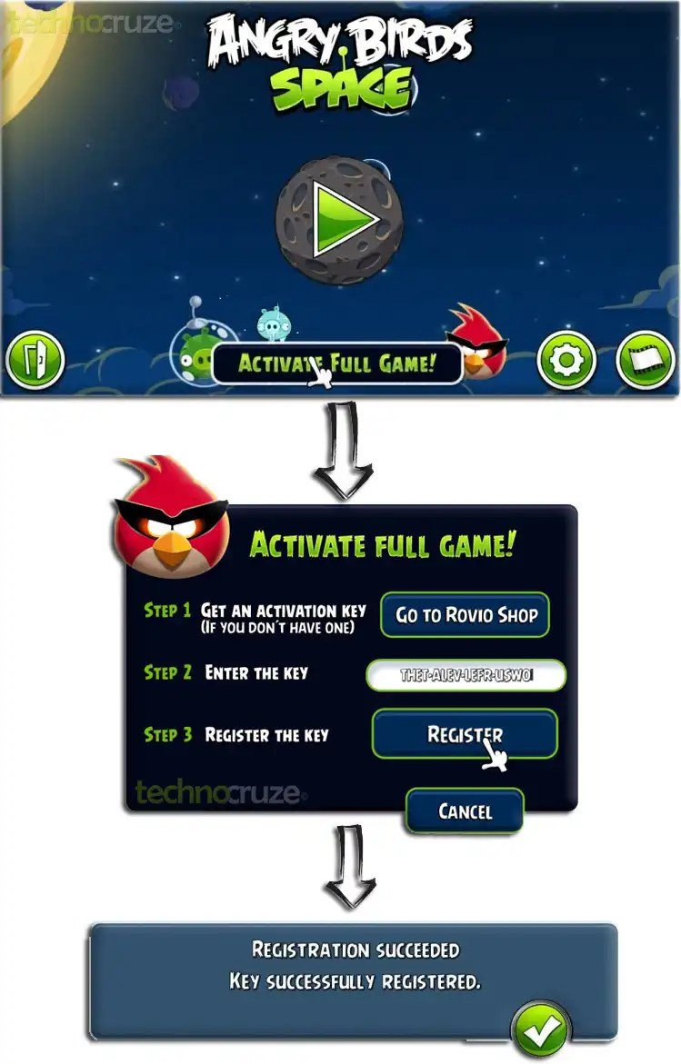 angry birds space activation key for pc
