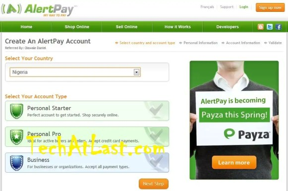 How to create payza alertpay account