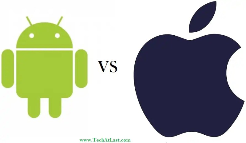 Google Android vs Apple iPhone logo