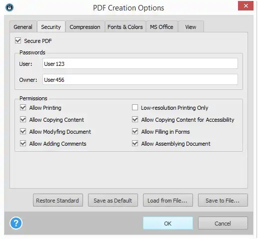 Able2Extract 10 PDF Creation Options