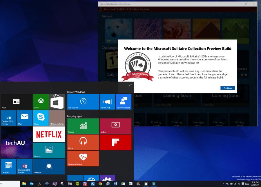 Solitare Preview Windows 10