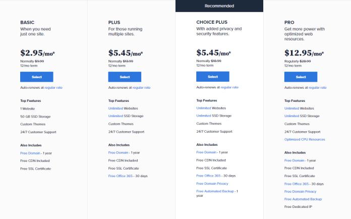 bluehost web hosting price