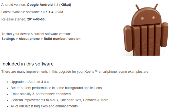Android 4.4.4. Xperia Z