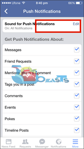Enable All Facebook Notification Sound On iPhone