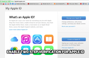 Enable Two-Step Verification for Apple ID