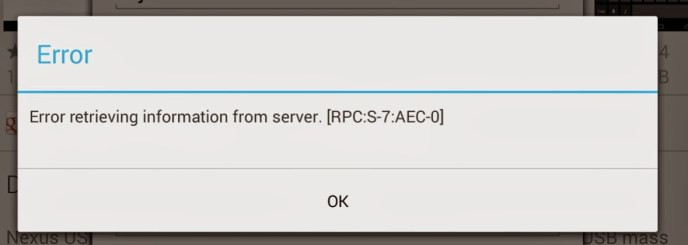 how to solve this problem rpc s-7 aec-0?