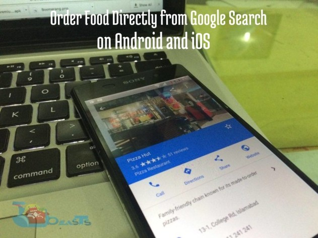 Order Food Directly from Google Search on Android and iOS
