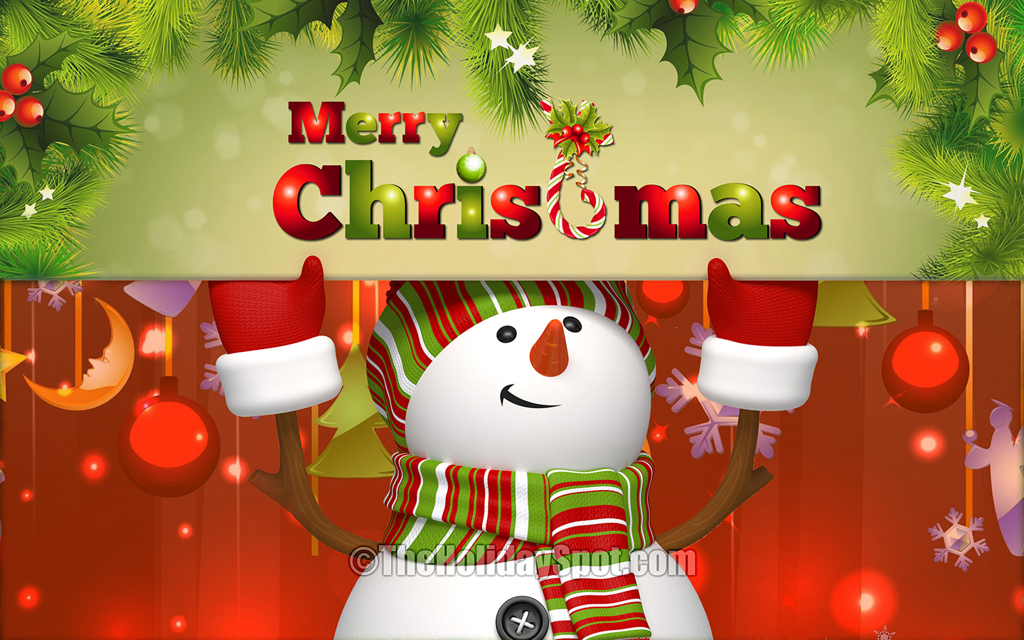 Merry Christmas Tree Free Download Wallpaper
