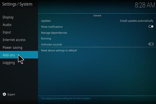 Enable Unknown Sources in Kodi 17.3 Krypton