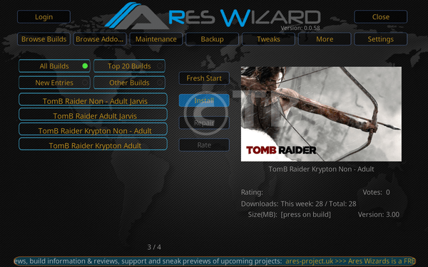 Install Tomb Raider Build on Kodi 17