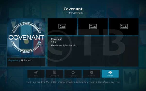 Install Covenant Kodi Add-on Repo - Exodus Replacement