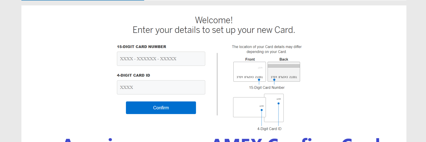 Americanexpress Confirm Card, Americanexpress AMEX Confirm Card