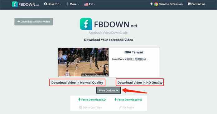 FBdown臉書影片下載 - 影片解析成功
