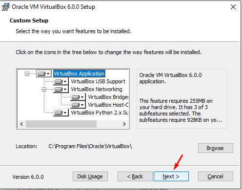 Custom setup dialog box