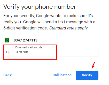 Google Verification Code to create gmail account