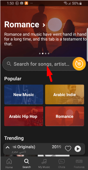 search song on anghami