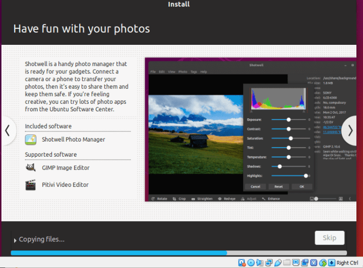 Ubuntu installation has been started