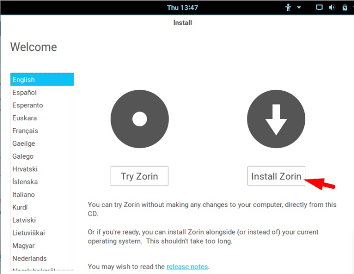 try or install zorin os on virtualbox