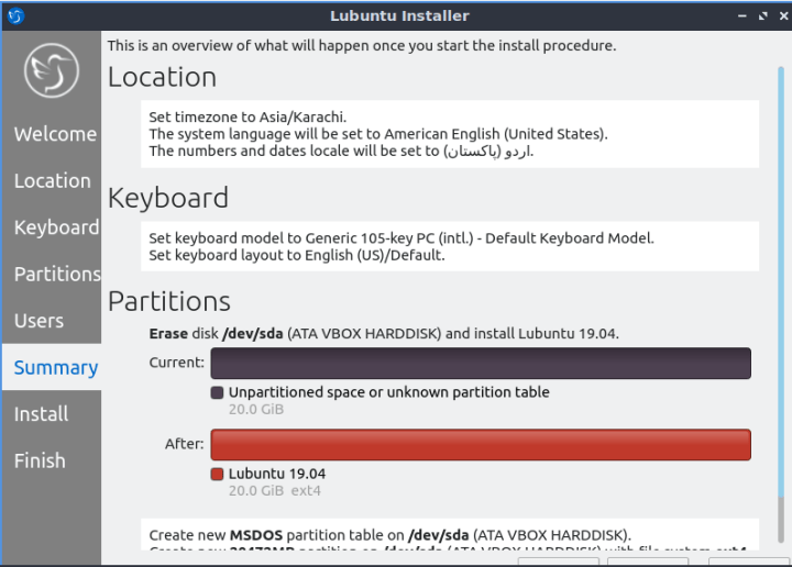 Lubuntu Installation Summary