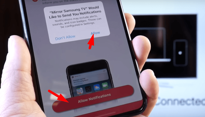 allow notification of mirror for samsung tv app