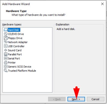 select hard disk from hardware