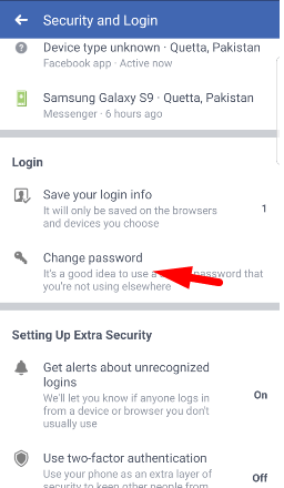 change your facebook account password