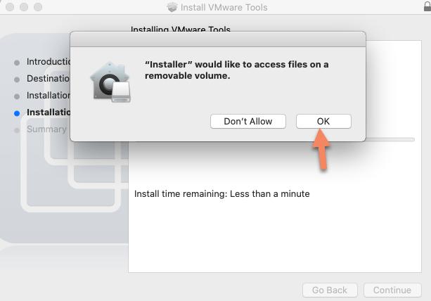 Allow Vmware tools installer on macOS