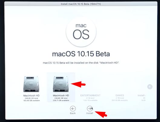 Select the drive to install MacOS catalina