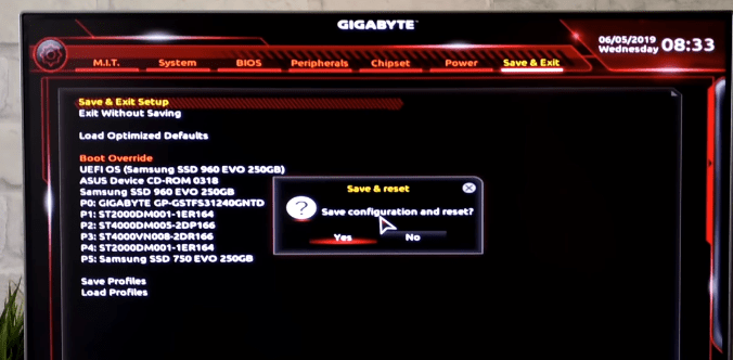 Save and reset BIOS configuration