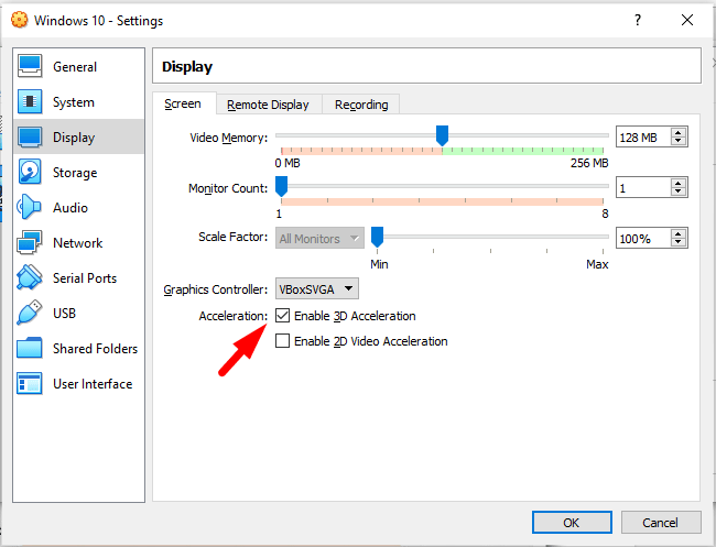 Enable 3D Acceleration on Display tab
