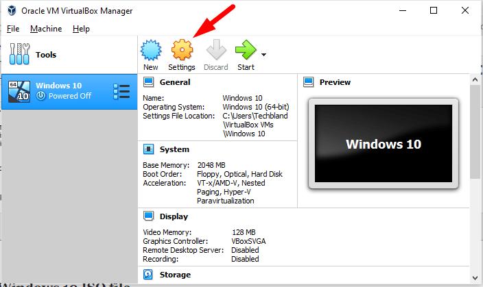 Add Windows 10 ISO to Virtualbox