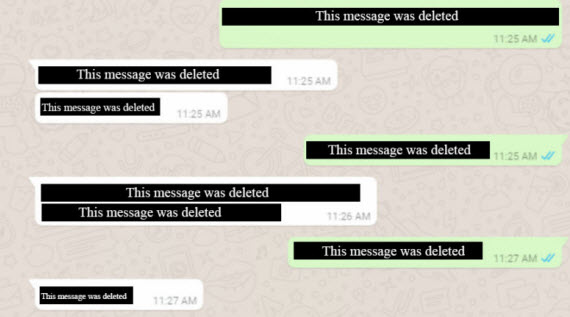 whatsapp message delete
