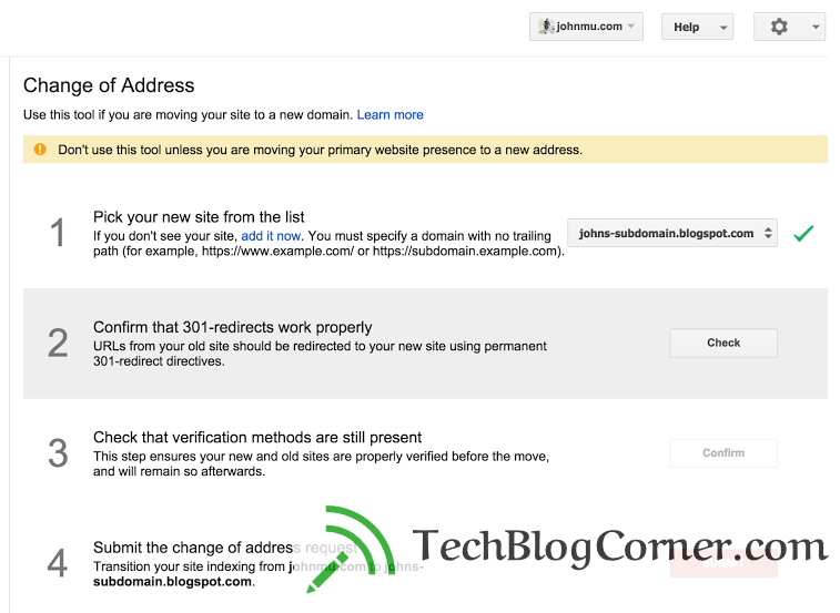 change of address tool by Webmaster-techblogcorner