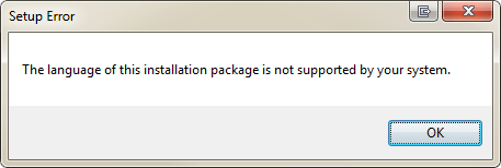 office language error: The language of this installation package is not supported by your system.
