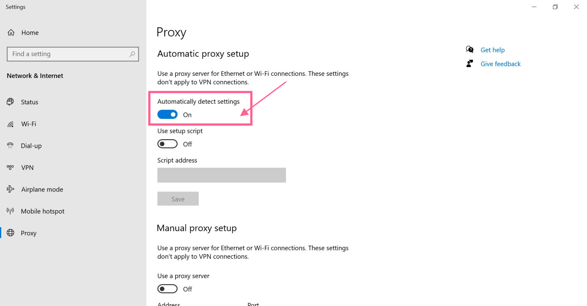 proxy automate detect settings err_timed_out