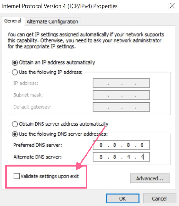 validate dns settings err_timed_out