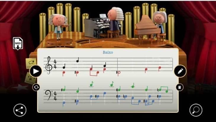 O Doodle é uma experiência interativa que incentiva os jogadores a comporem uma melodia de duas medidas de sua escolha.