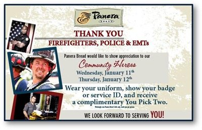 Thanks to Panera Bread Pittsburgh for appreciating First Responders