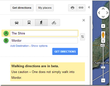 Google Maps has a Hobbit Sense of humor