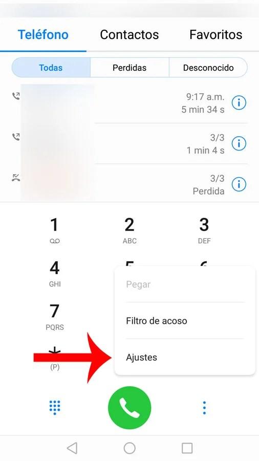 Cómo recibir llamadas en Android: Seleccione ajustes